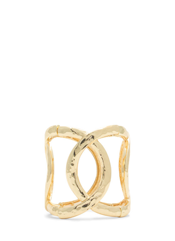 Faux Linked Ring Stretchy Bracelet GOLD