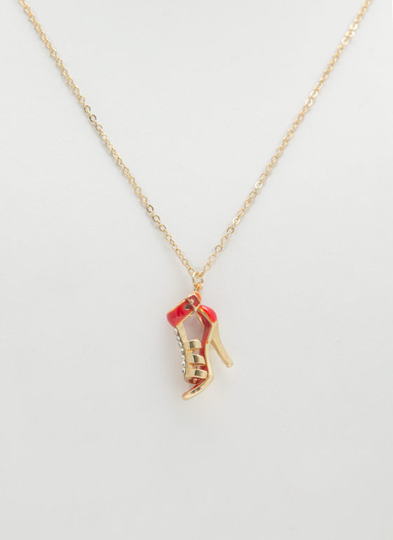 Strappy Jeweled Stiletto Necklace REDGOLD