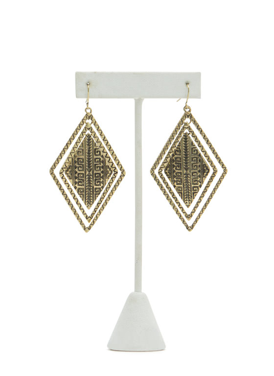 Tribal Concentric Diamond Earrings DKGOLD