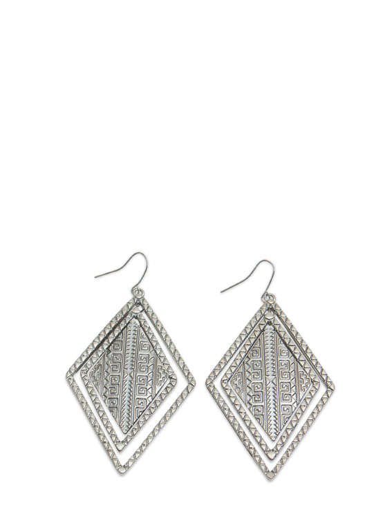 Tribal Concentric Diamond Earrings DKSILVER