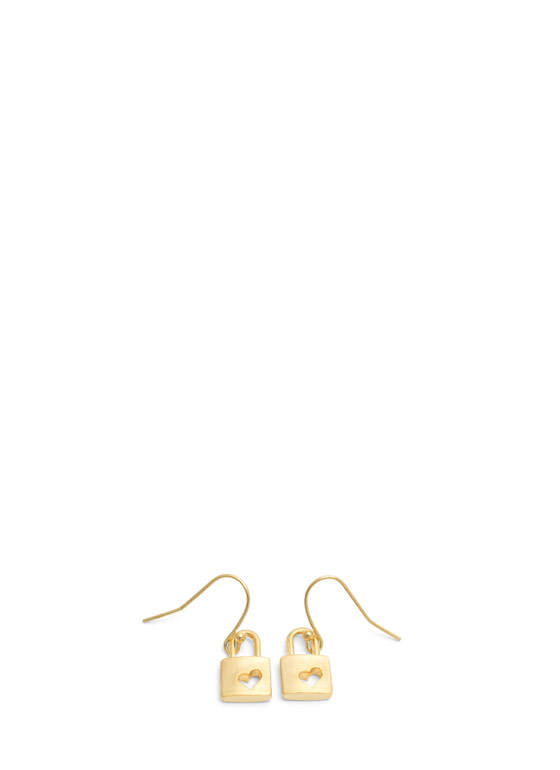 Handmade Heart Cut-Out Lock Earrings GOLD