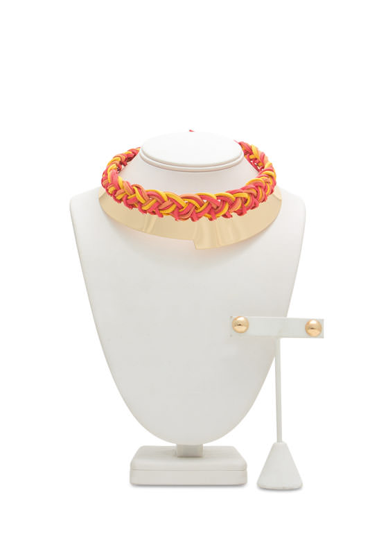 Braided Faux Leather Metal Choker Set ORANGEGOLD (Final Sale)