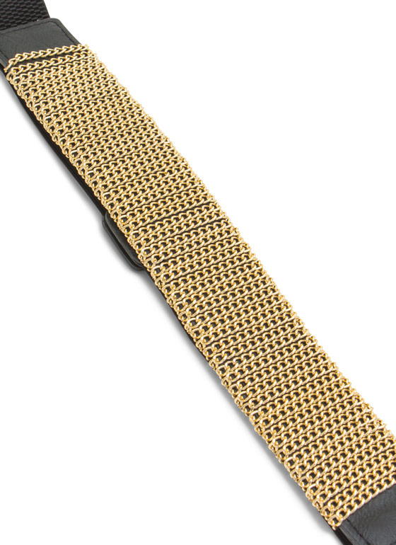 Linked Chain Wrapped Stretchy Belt GOLDBLACK