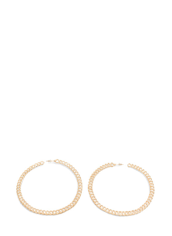 Extra Shiny Chained Hoop Earrings GOLD