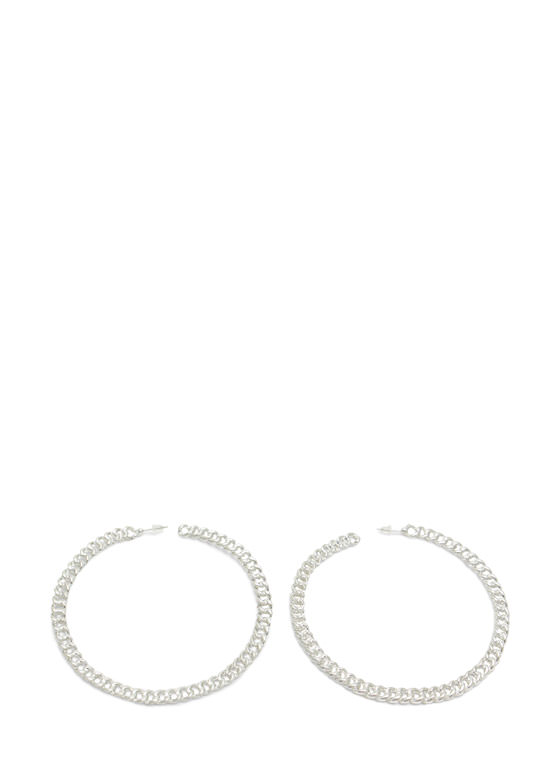 Extra Shiny Chained Hoop Earrings SILVER