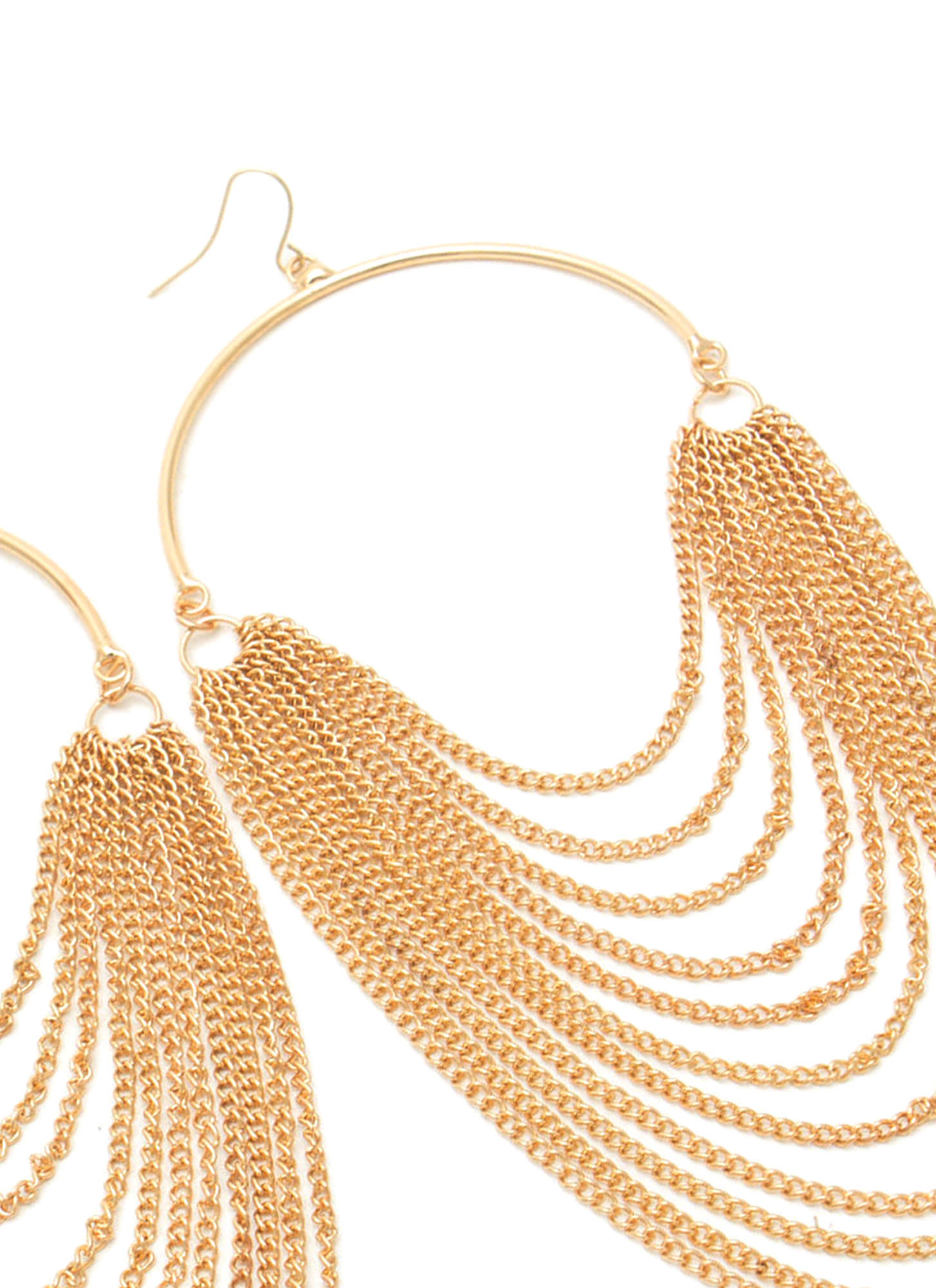 Half Hoop 'N Layered Chain Earrings GOLD