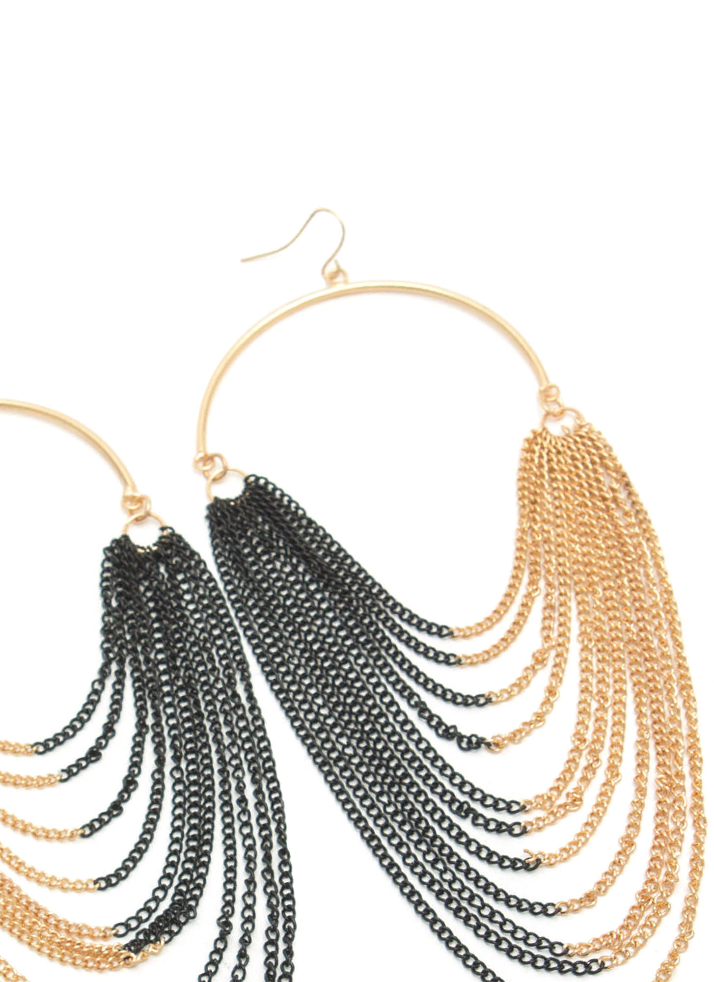 Half Hoop 'N Layered Chain Earrings GOLDMULTI