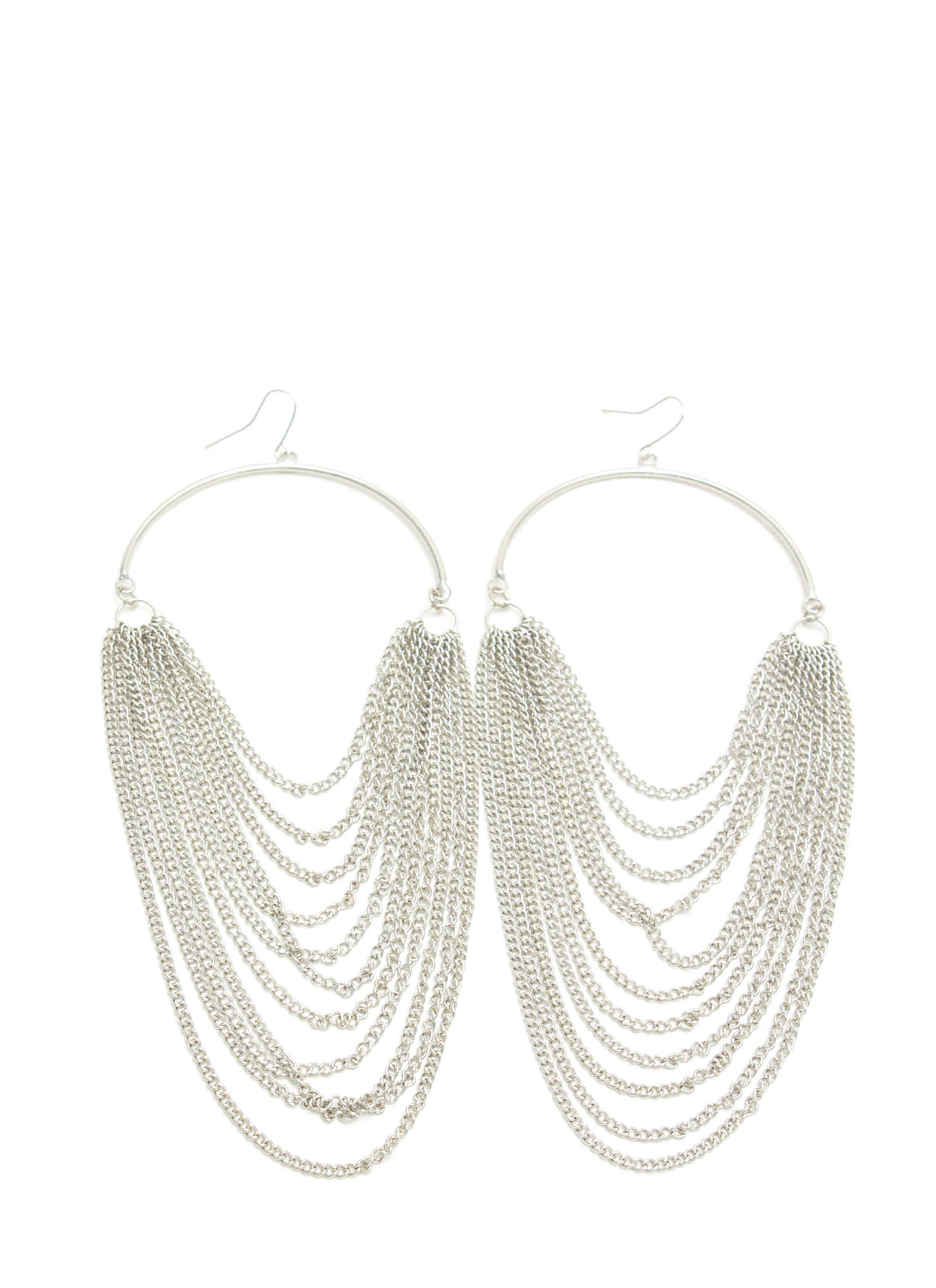 Half Hoop 'N Layered Chain Earrings SILVER