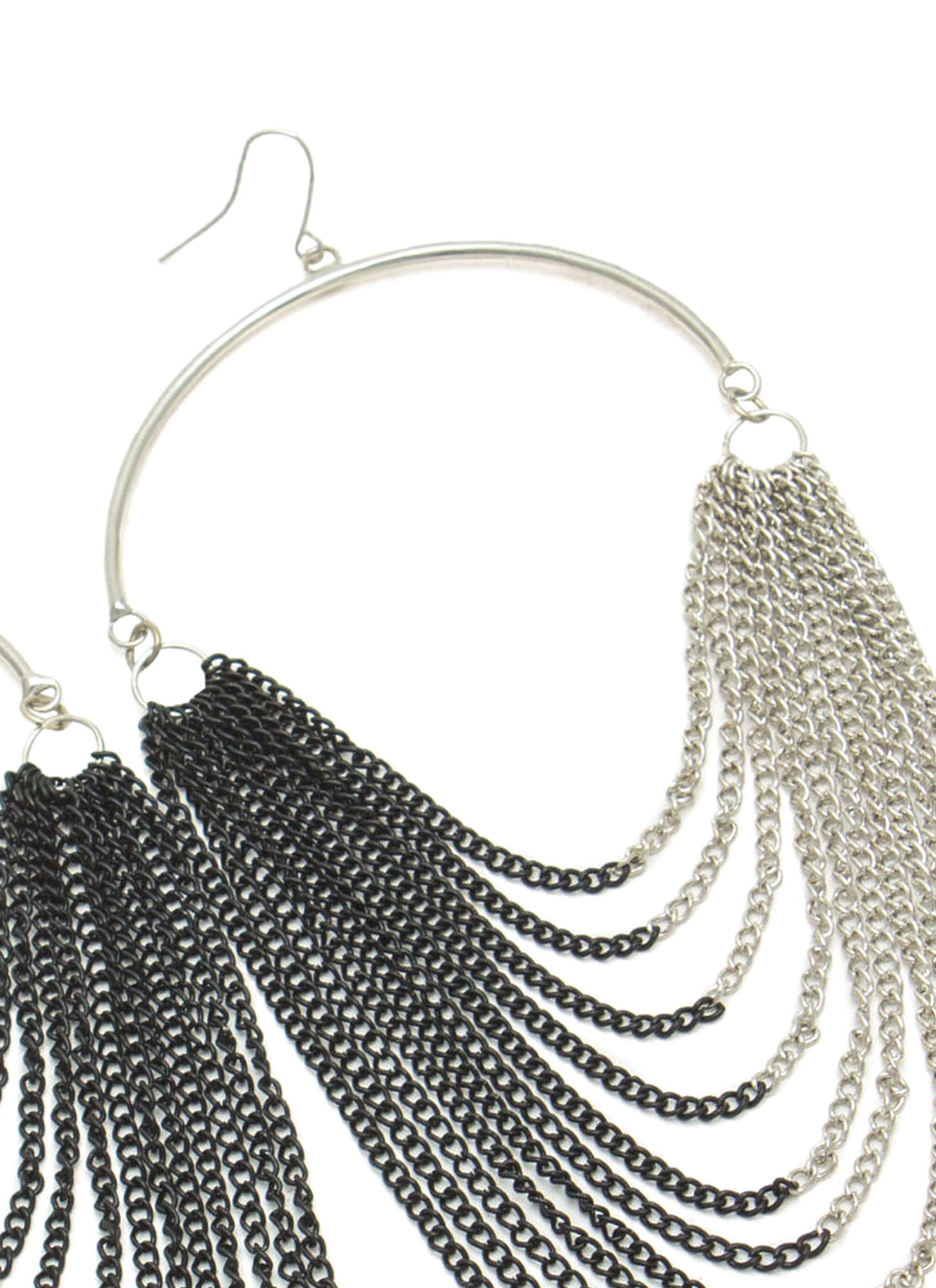 Half Hoop 'N Layered Chain Earrings SILVERMULT