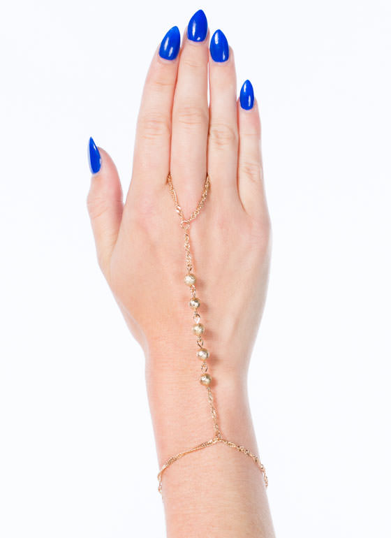 Rope Chain 'N Beads Hand Bracelet GOLD
