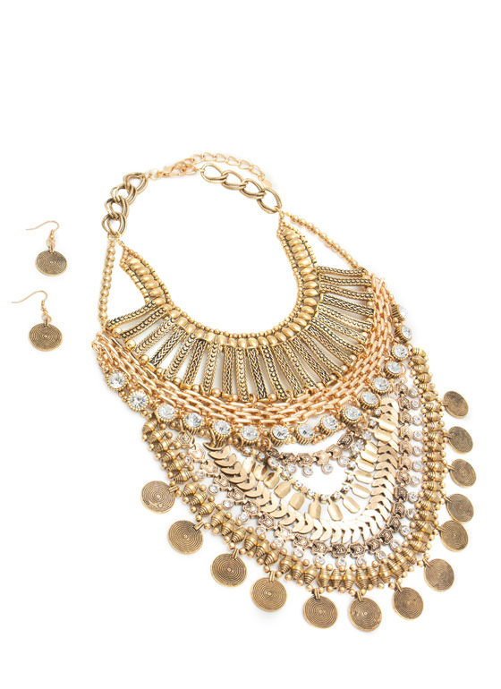 Oversized Tribal Beaded Bib Necklace Set DKGOLD