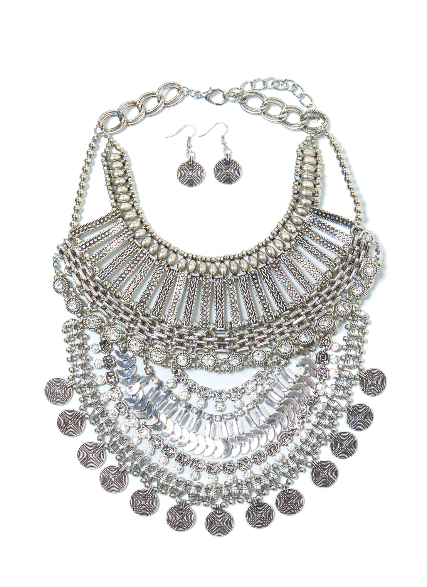 Oversized Tribal Beaded Bib Necklace Set DKSILVER