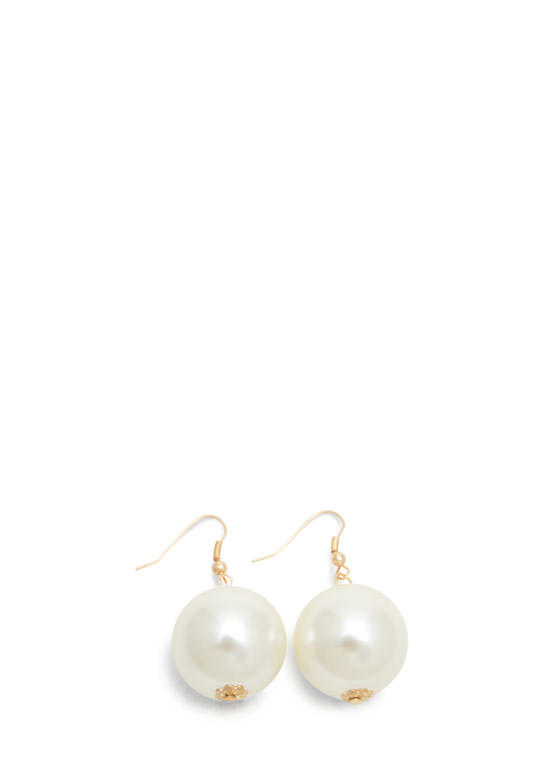 Oversized Faux Pearl Trio Necklace Set IVORYGOLD
