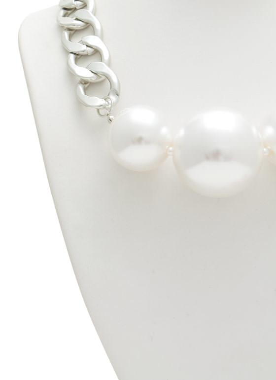Oversized Faux Pearl Trio Necklace Set IVORYSILVR