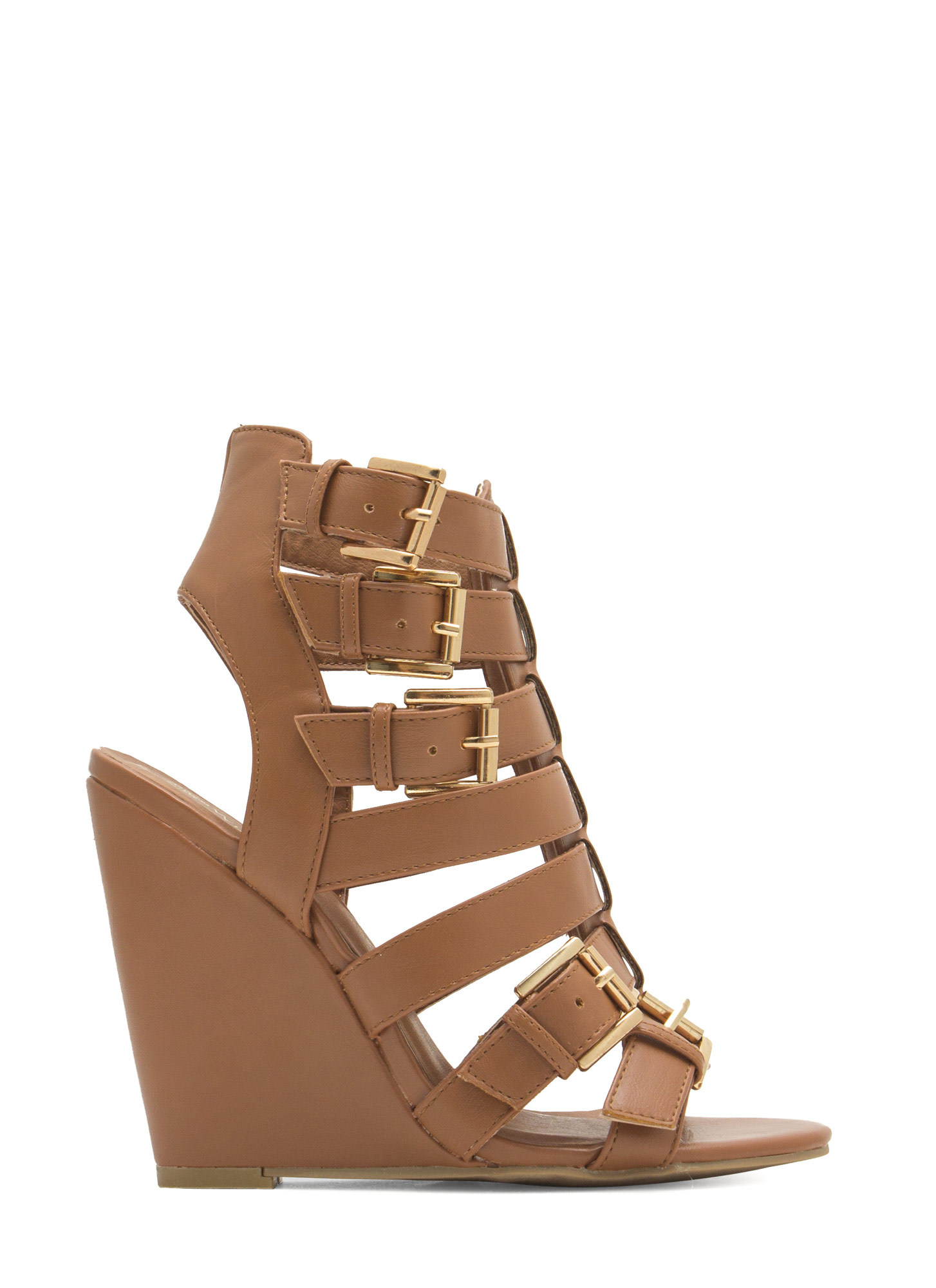 Perfect Slit Faux Leather Wedges WHISKY