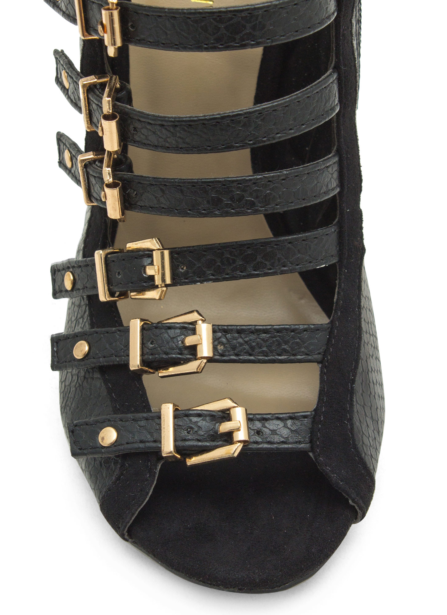 Reppin' The Reptile Strappy Heels BLACK
