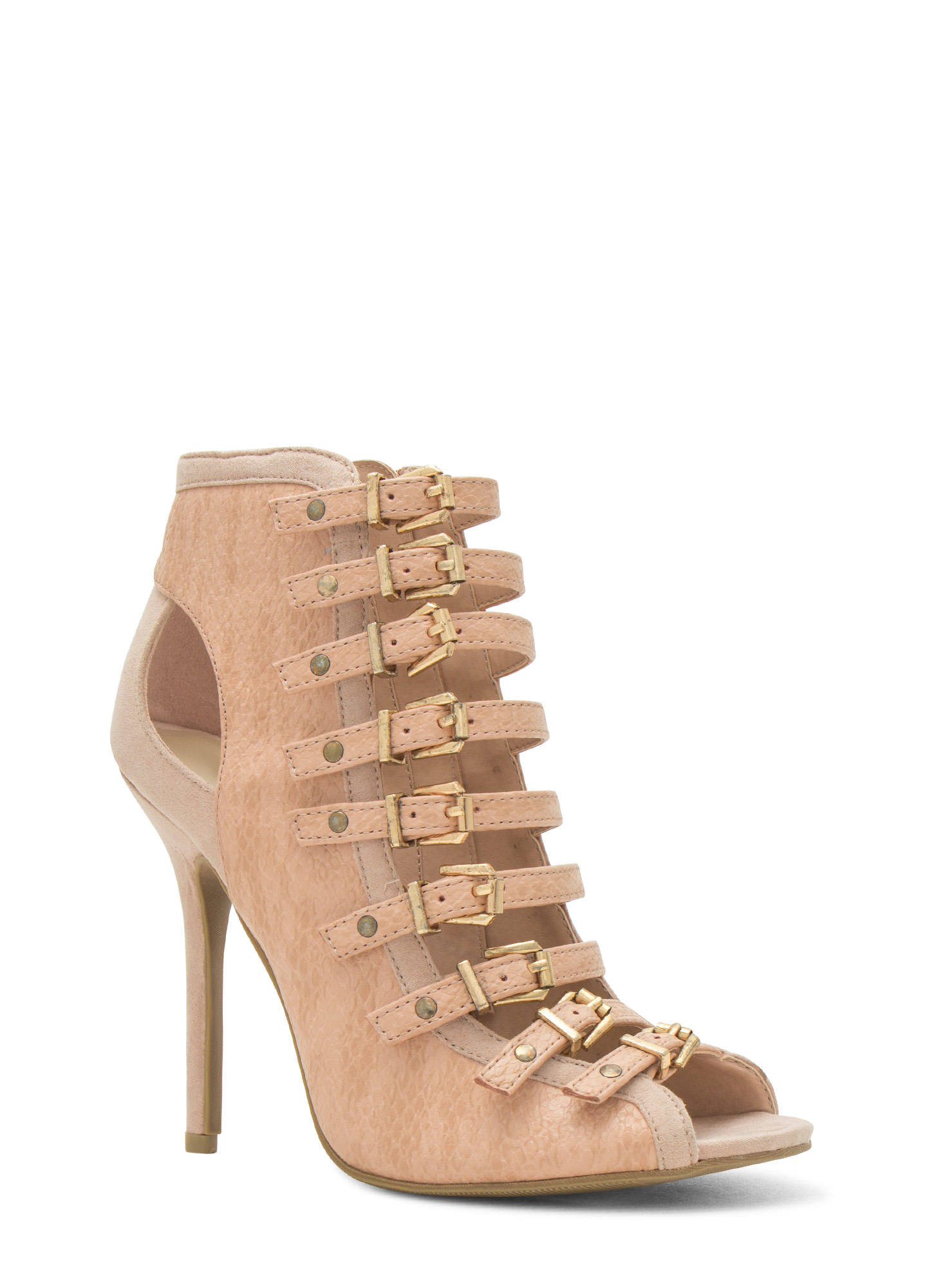 Reppin' The Reptile Strappy Heels NUDE