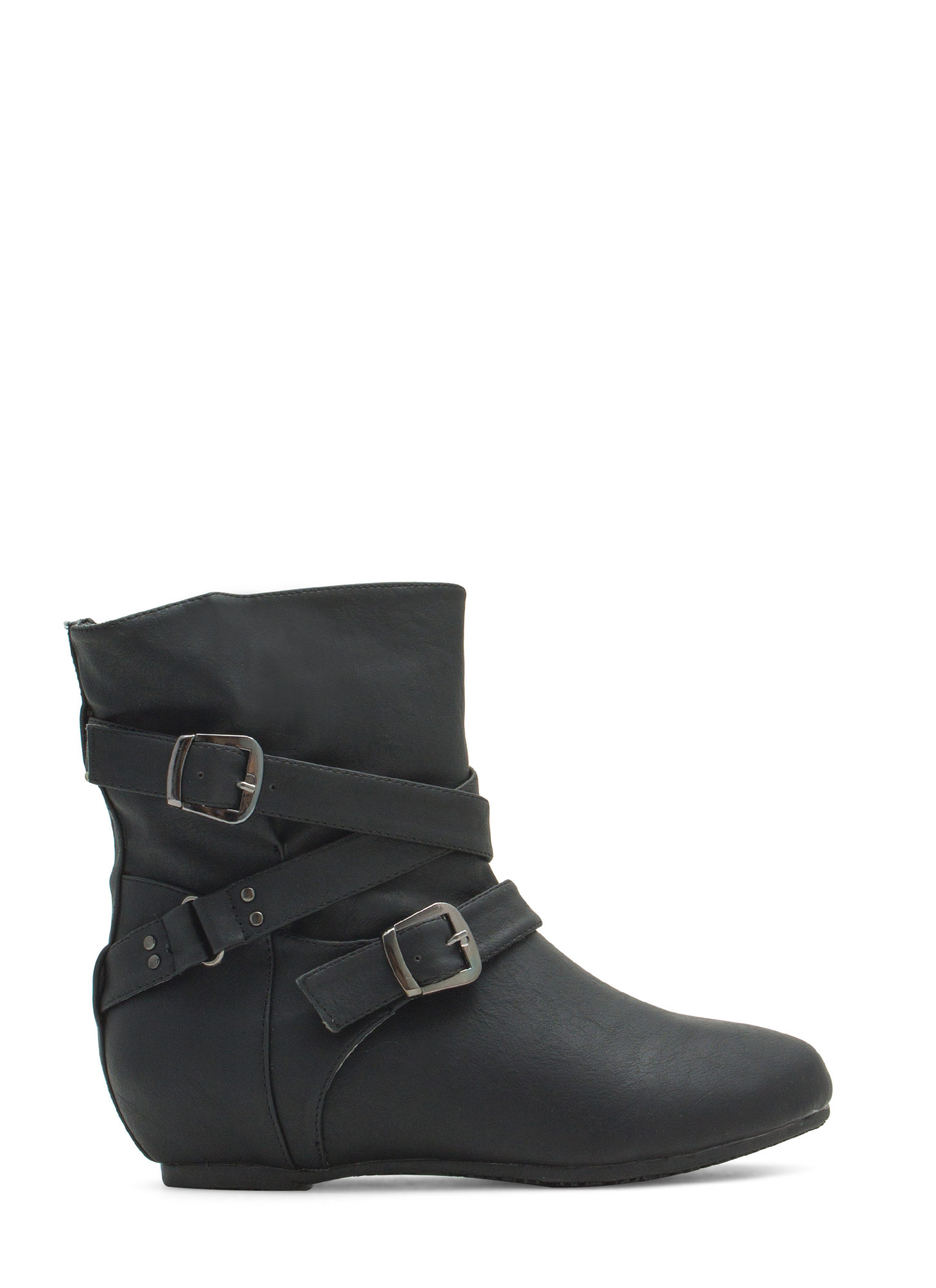 Faux Leather Low-Rise Buckled Boots BLACK