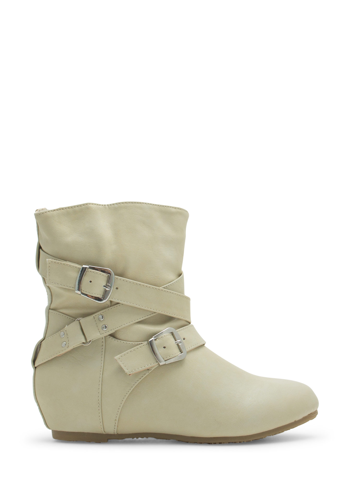 Faux Leather Low-Rise Buckled Boots PEARL