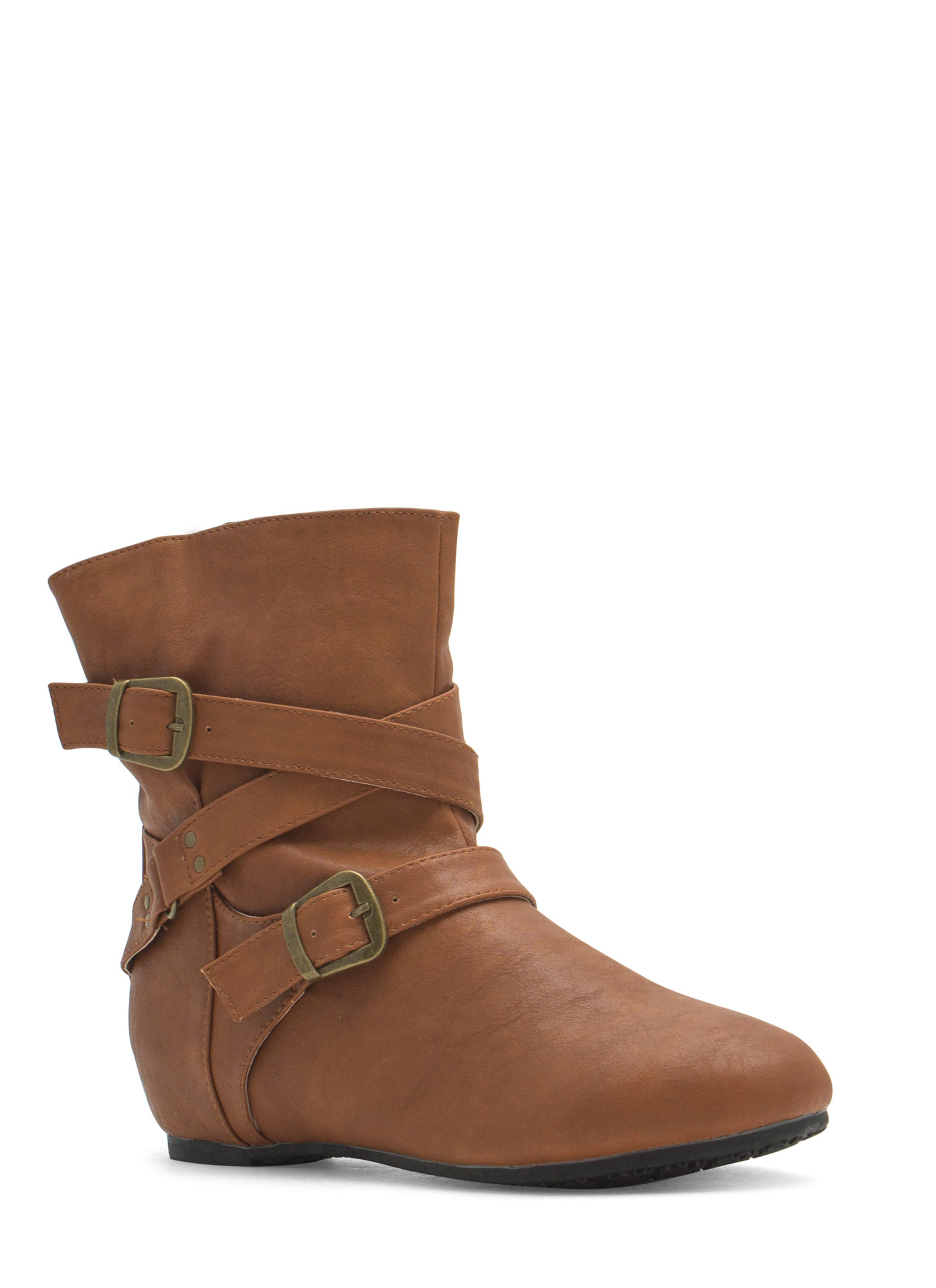 Faux Leather Low-Rise Buckled Boots WHISKY
