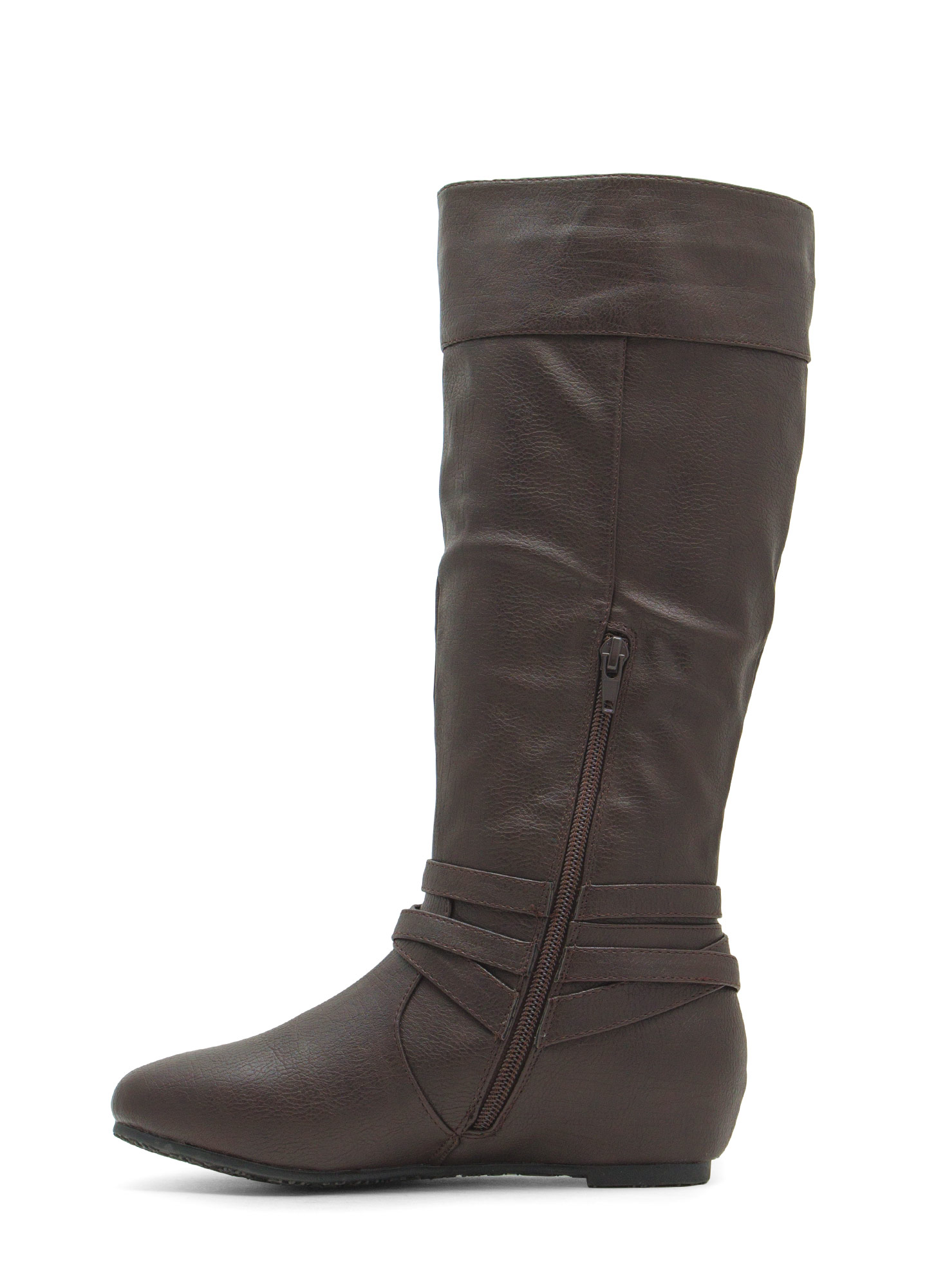 Tri-Buckle Flat Boots BROWN