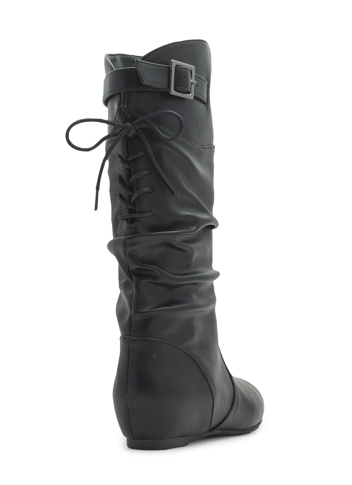 Lace-Up Yourself Faux Leather Boots BLACK