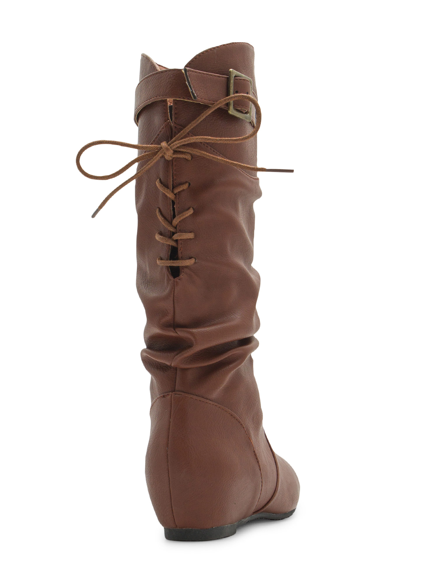 Lace-Up Yourself Faux Leather Boots WHISKY