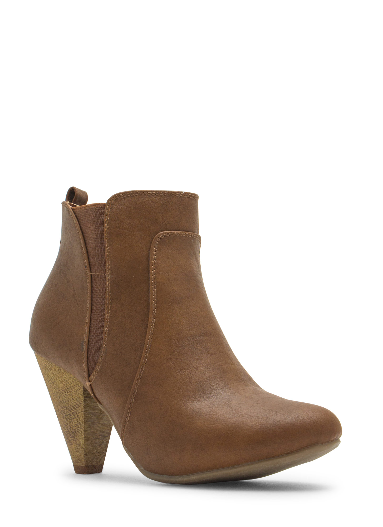 Special Delivery Faux Leather Booties COGNAC