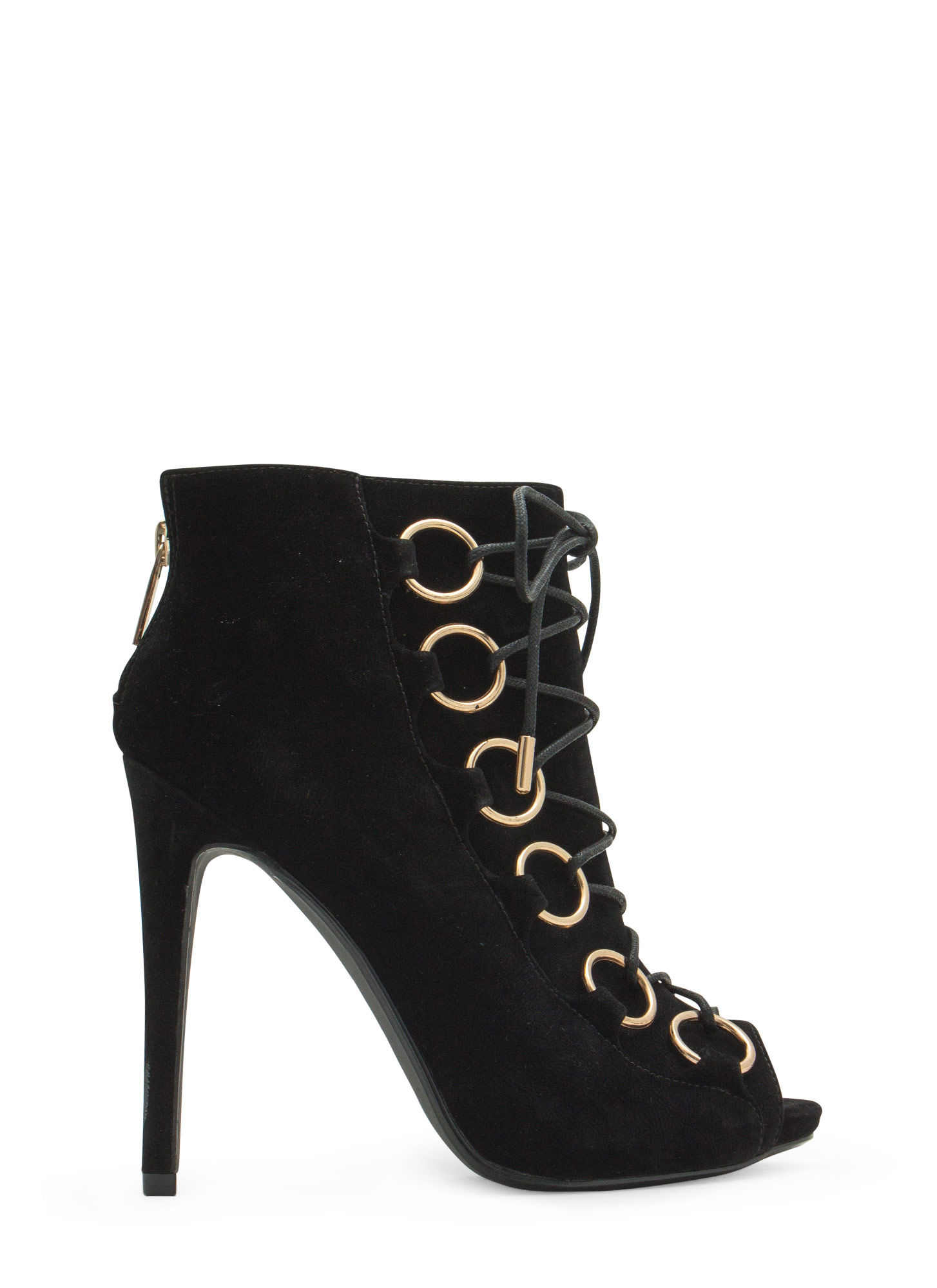 Ring Accent Peep-Toe Booties BLACK
