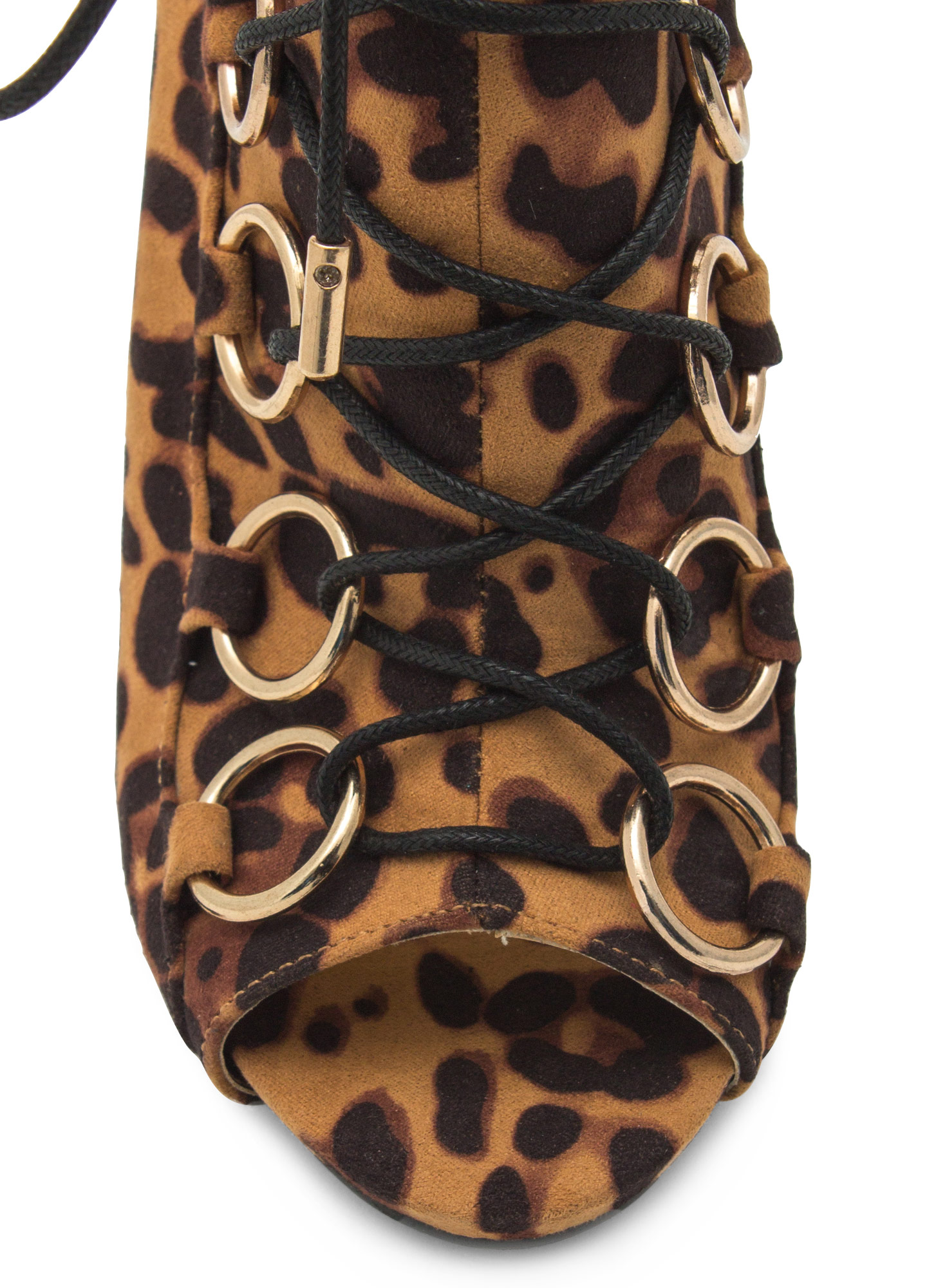 Ring Accent Peep-Toe Booties LEOPARD