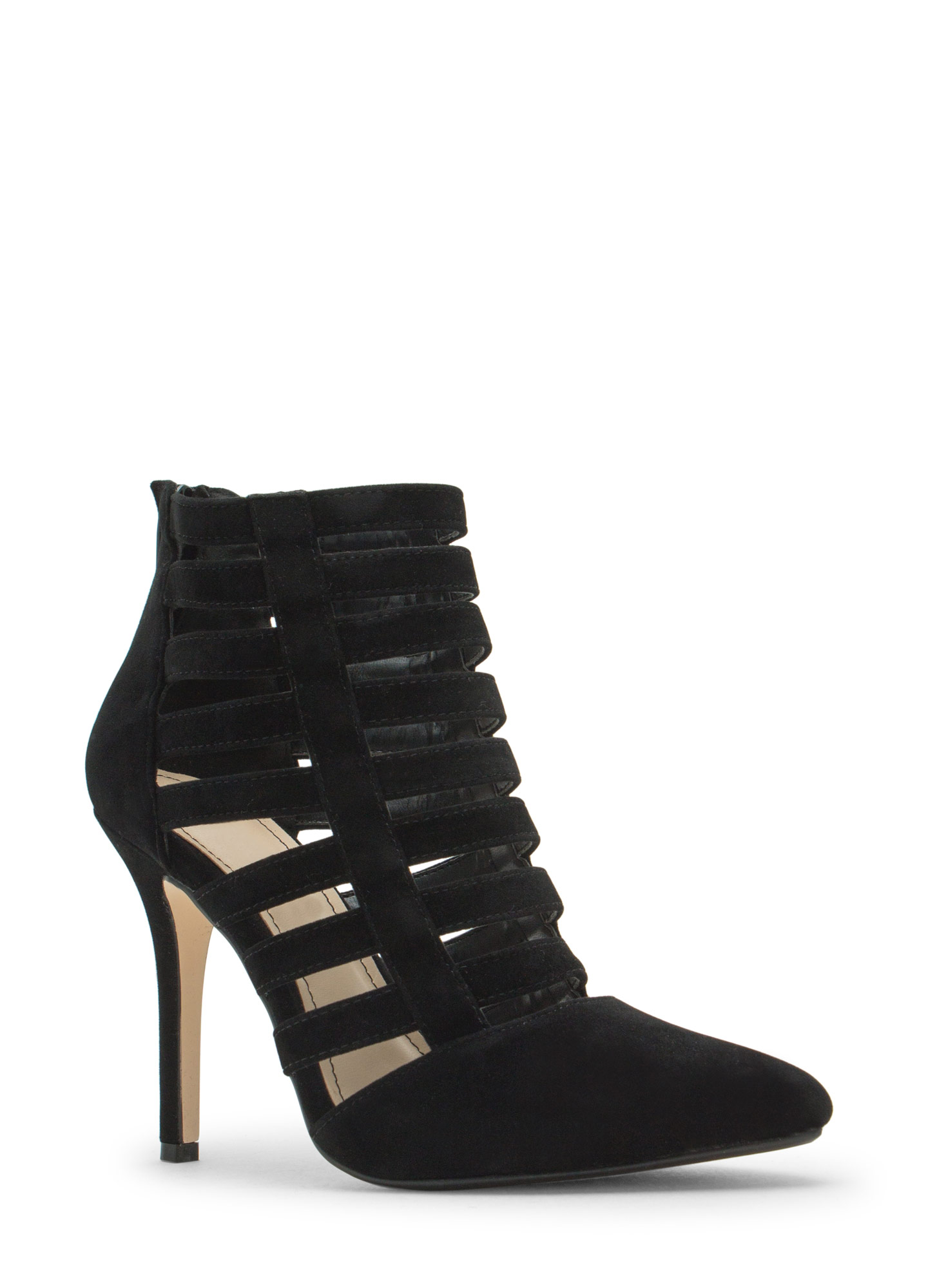 Laddered Cage Pointy Heels BLACK