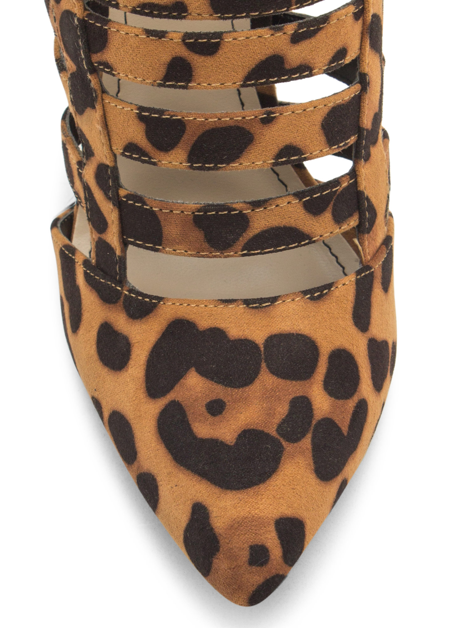Laddered Cage Pointy Heels LEOPARD
