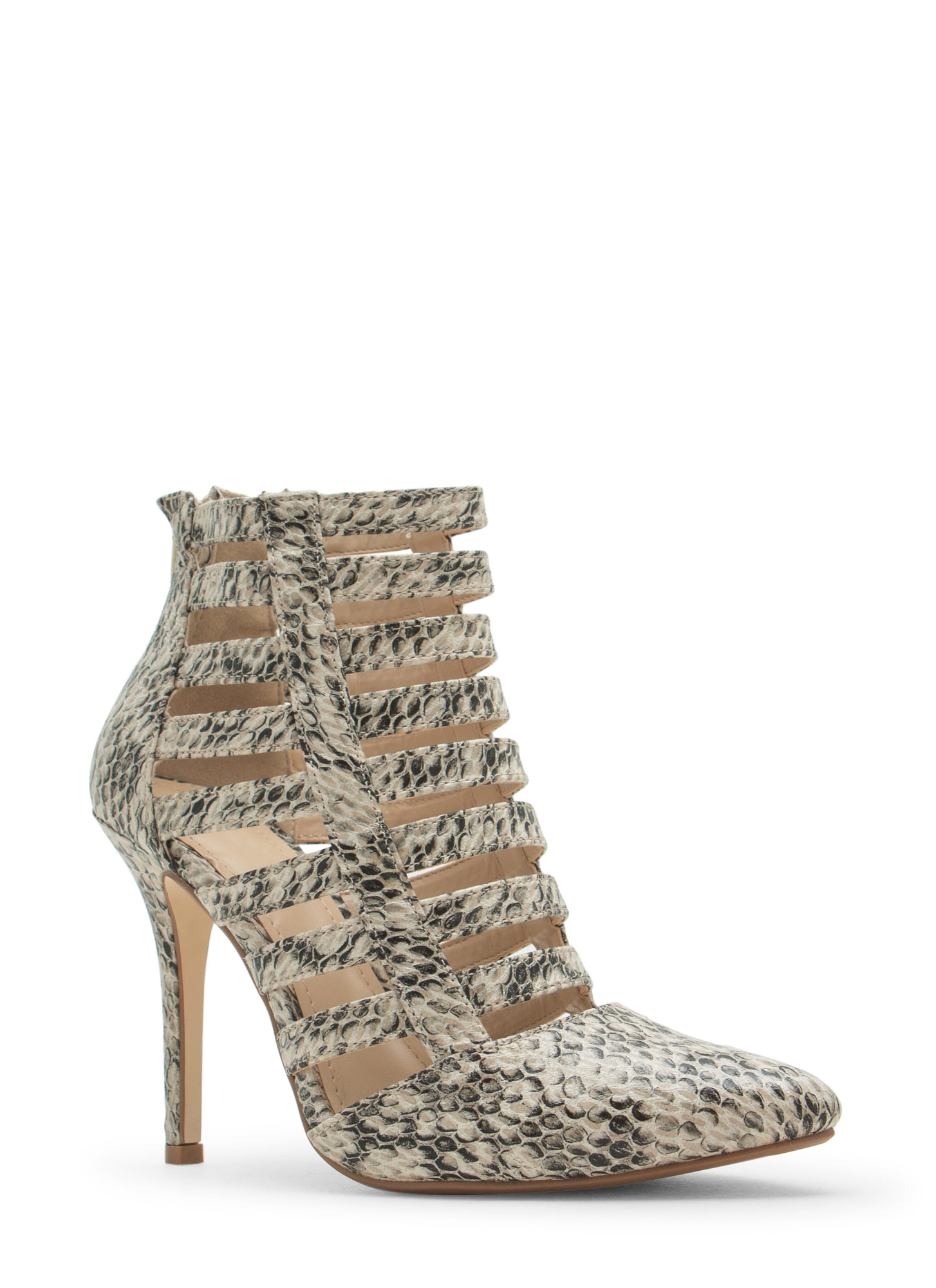Laddered Cage Pointy Heels NATURAL