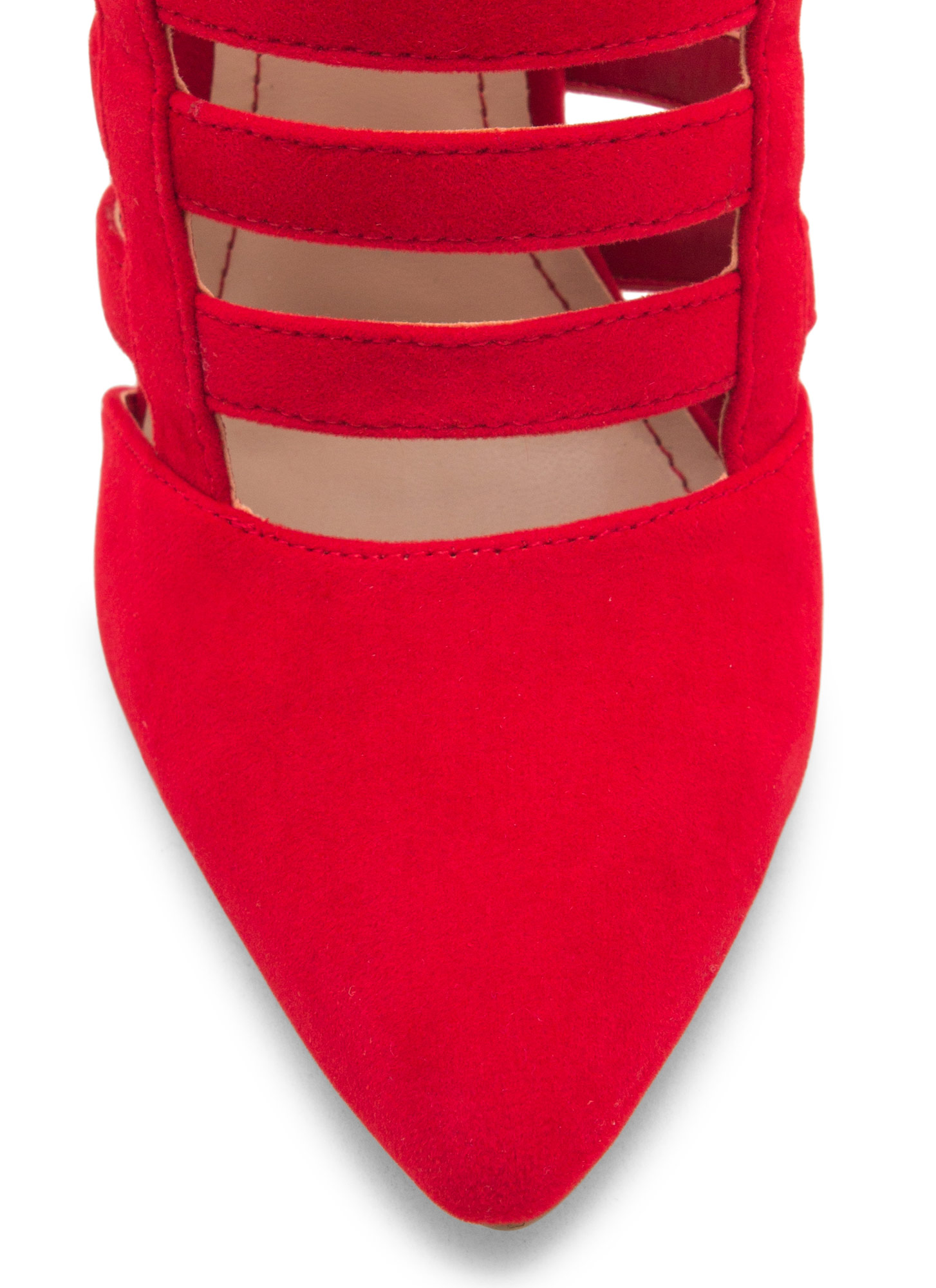 Laddered Cage Pointy Heels RED