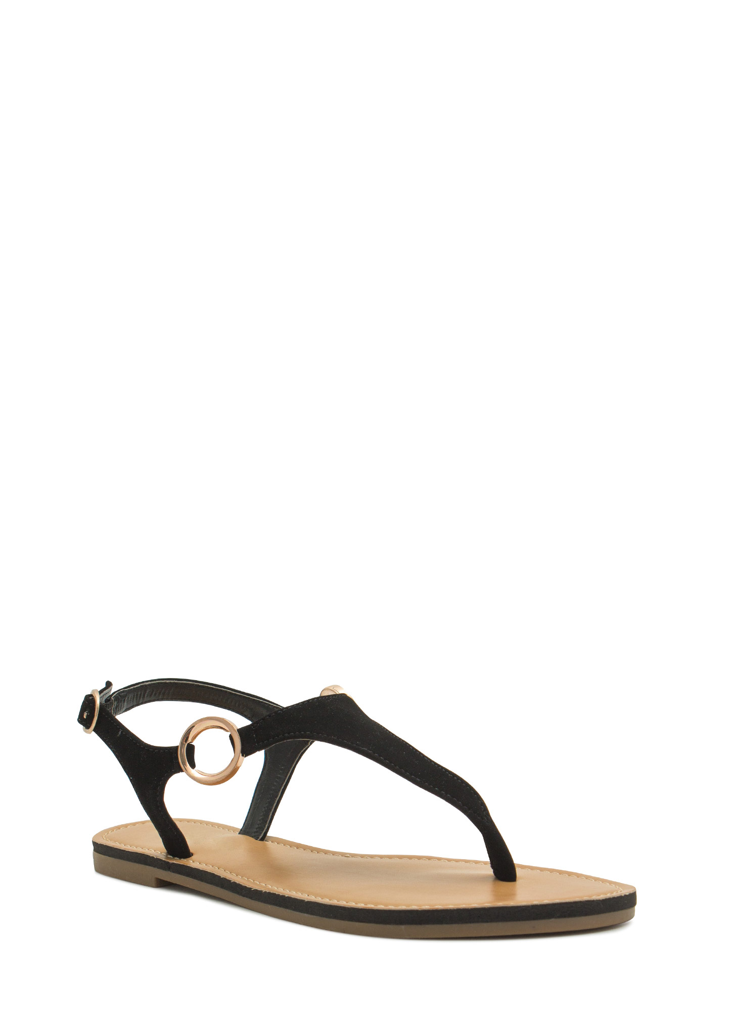Ring Side T-Strap Sandals BLACK