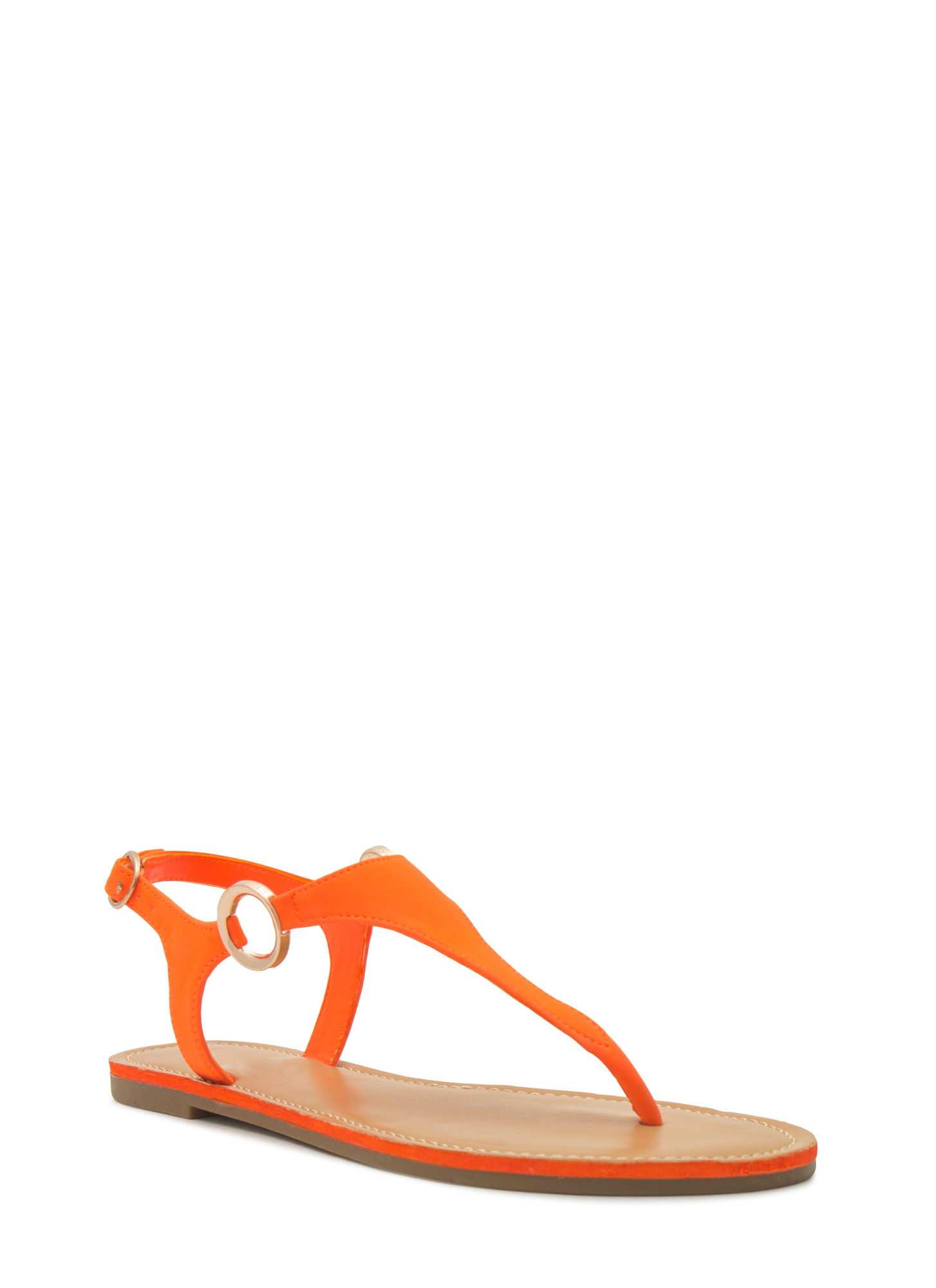 Ring Side T-Strap Sandals NEONORANGE