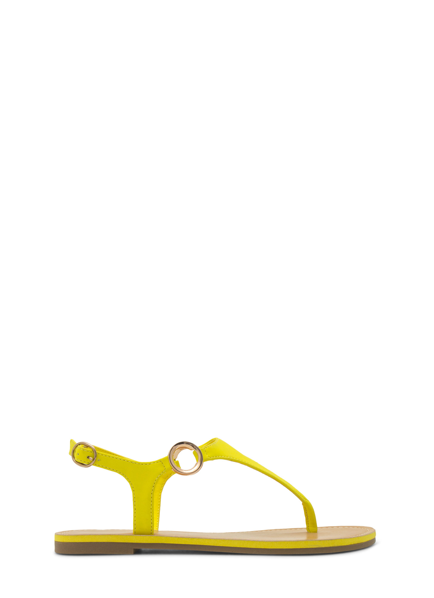 Ring Side T-Strap Sandals NEONYELLOW