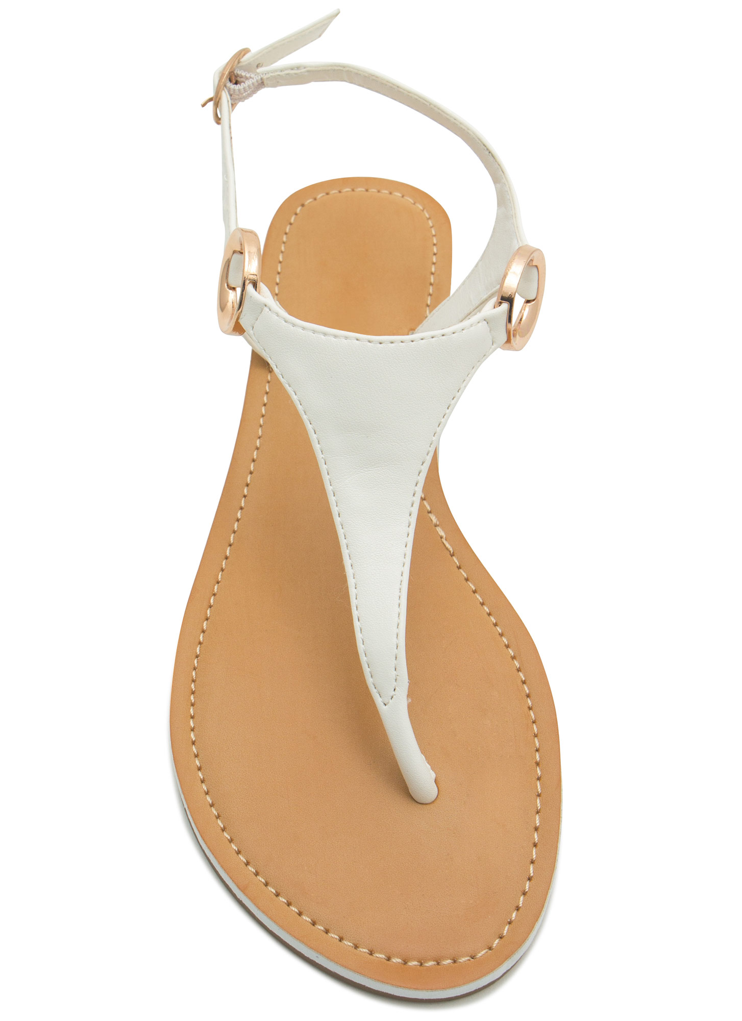 Ring Side T-Strap Sandals WHITE