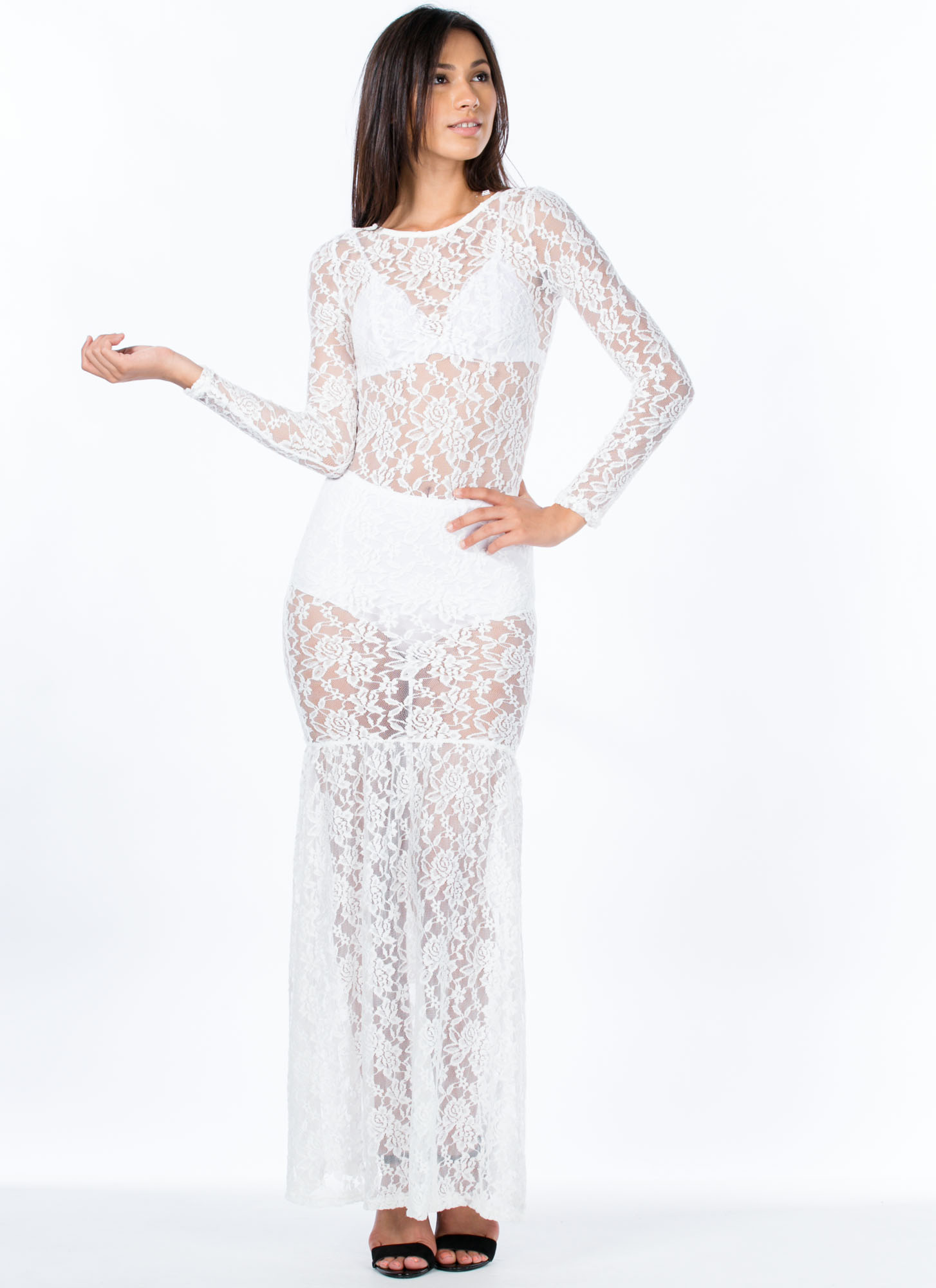 Floral Lace Mermaid Maxi Dress WHITE