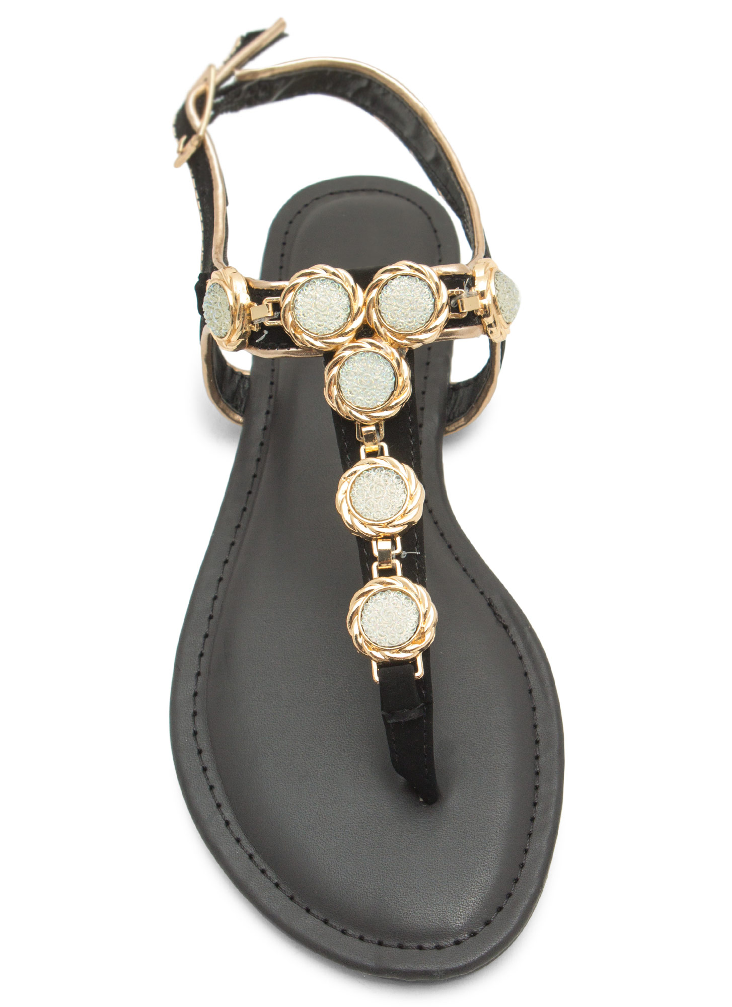Bejeweled Crystalline T-Strap Sandals BLACK