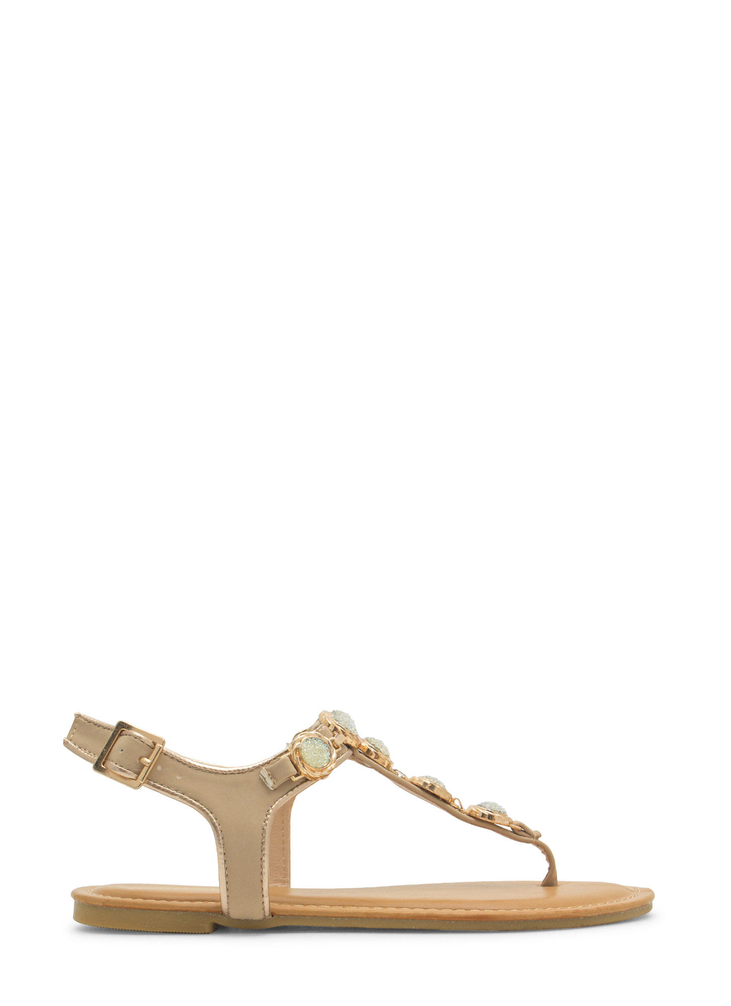 Bejeweled Crystalline T-Strap Sandals NUDE