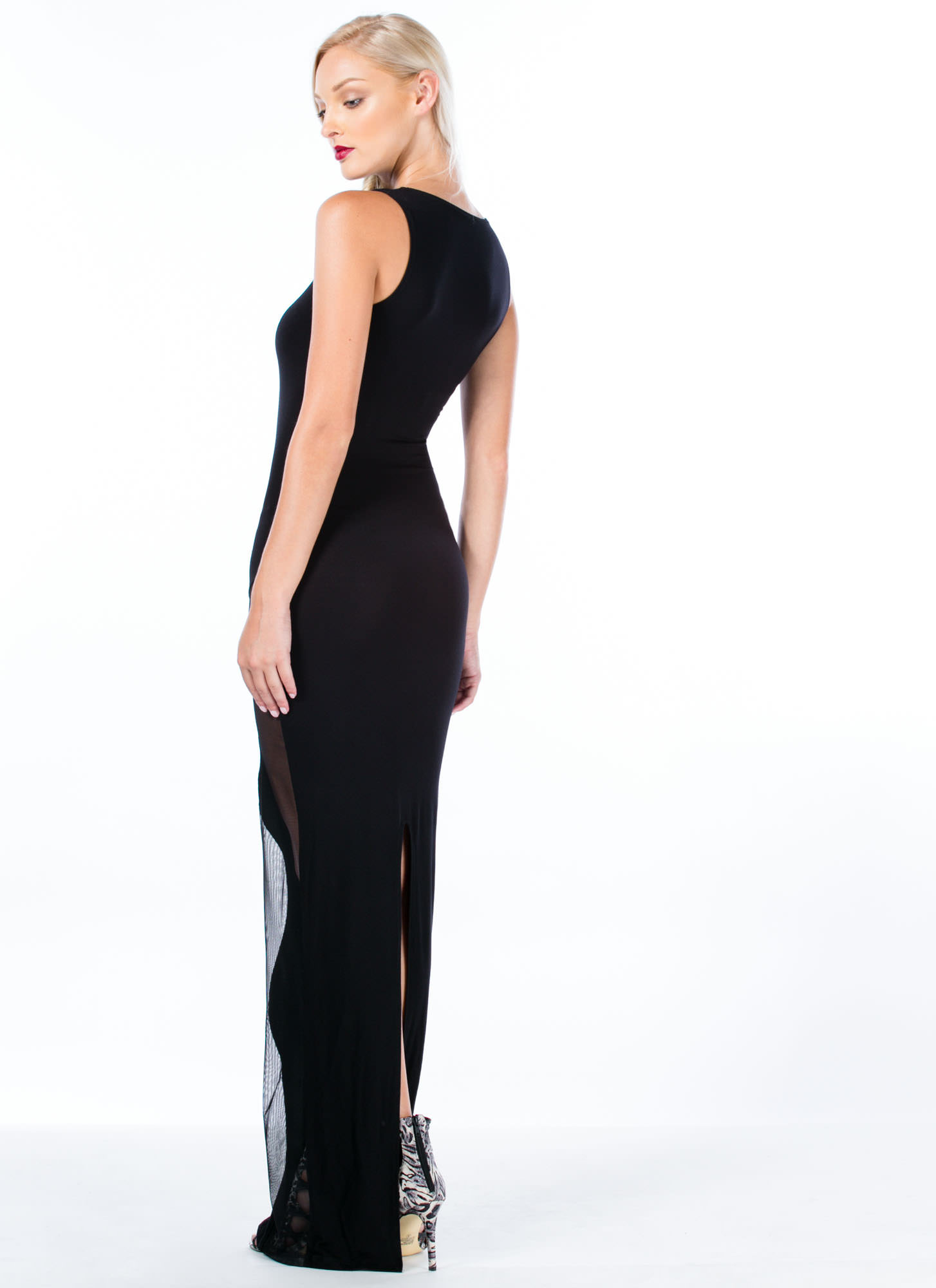 Curve Your Enthusiasm Mesh Inset Maxi BLACK