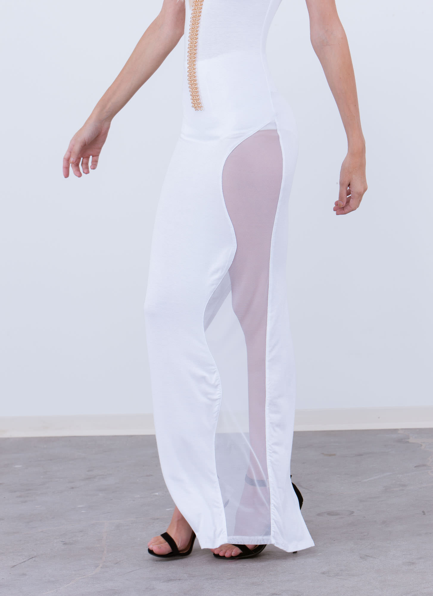Curve Your Enthusiasm Mesh Inset Maxi WHITE