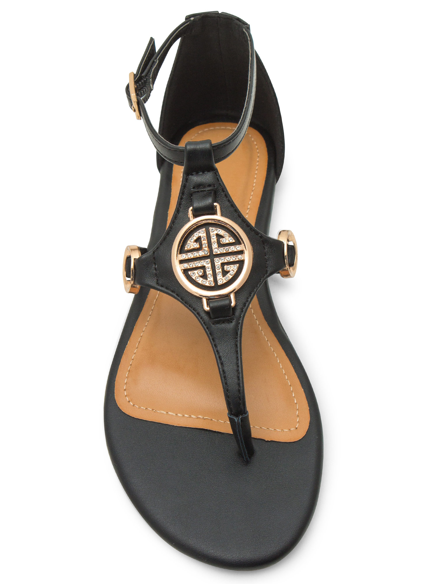 Medal Contender Strappy Ring Sandals BLACK