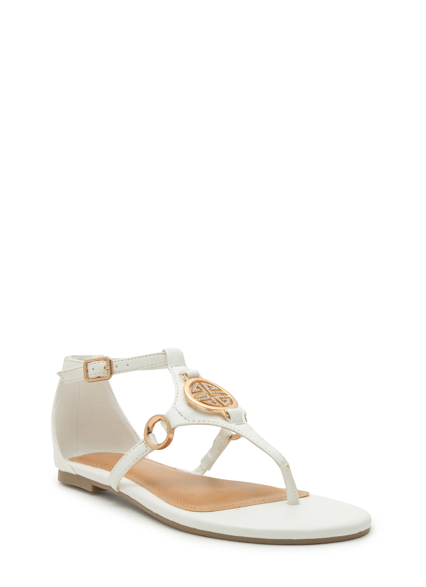 Medal Contender Strappy Ring Sandals WHITE
