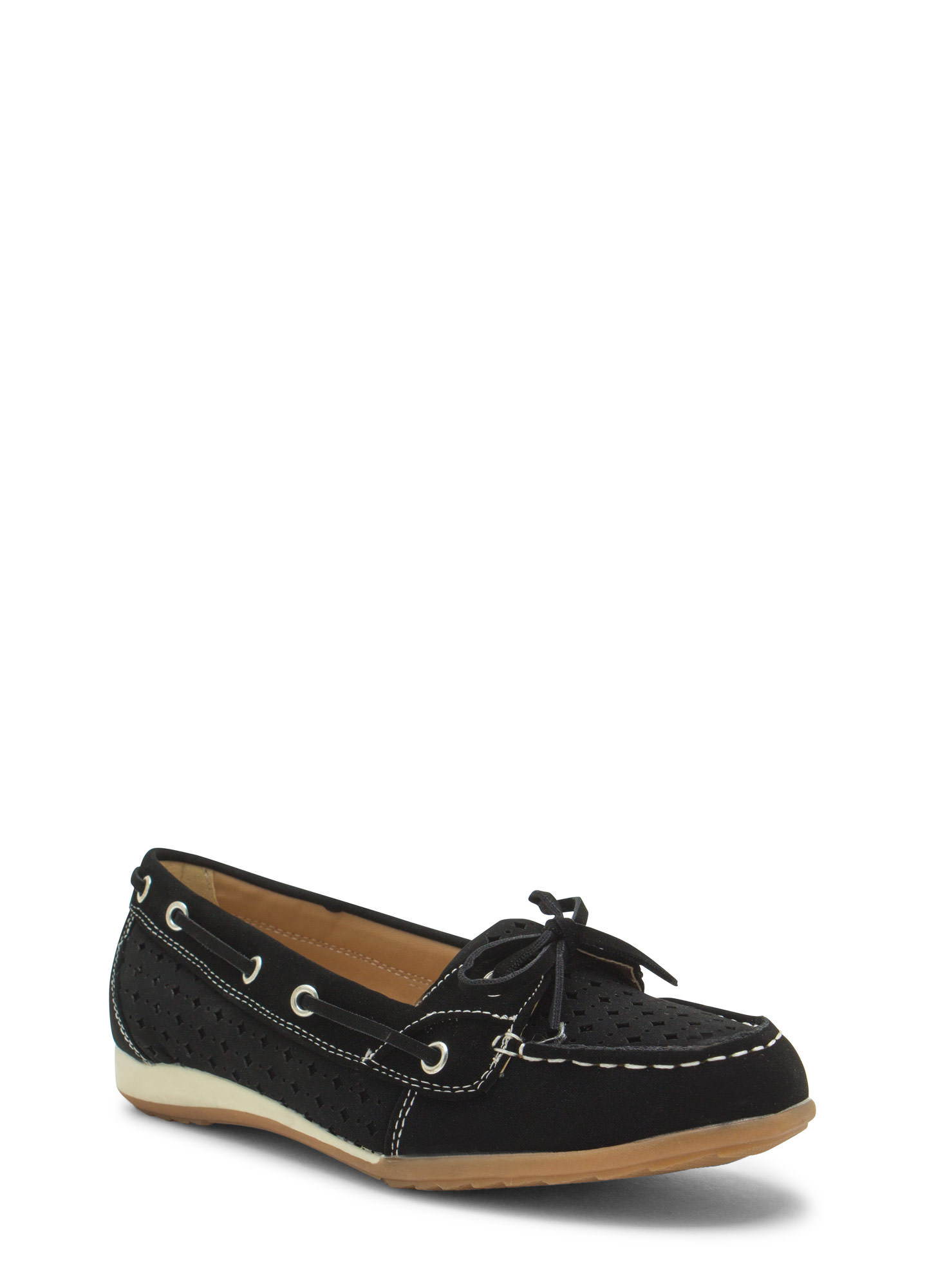 Perforated Faux Nubuck Boat Flats BLACK