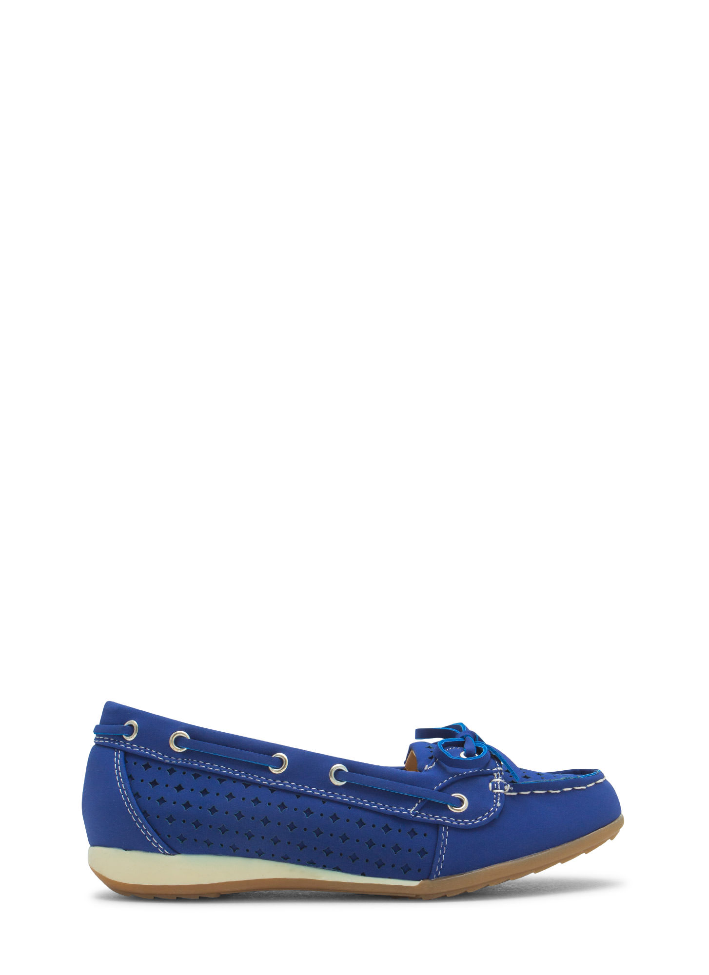 Perforated Faux Nubuck Boat Flats BLUE