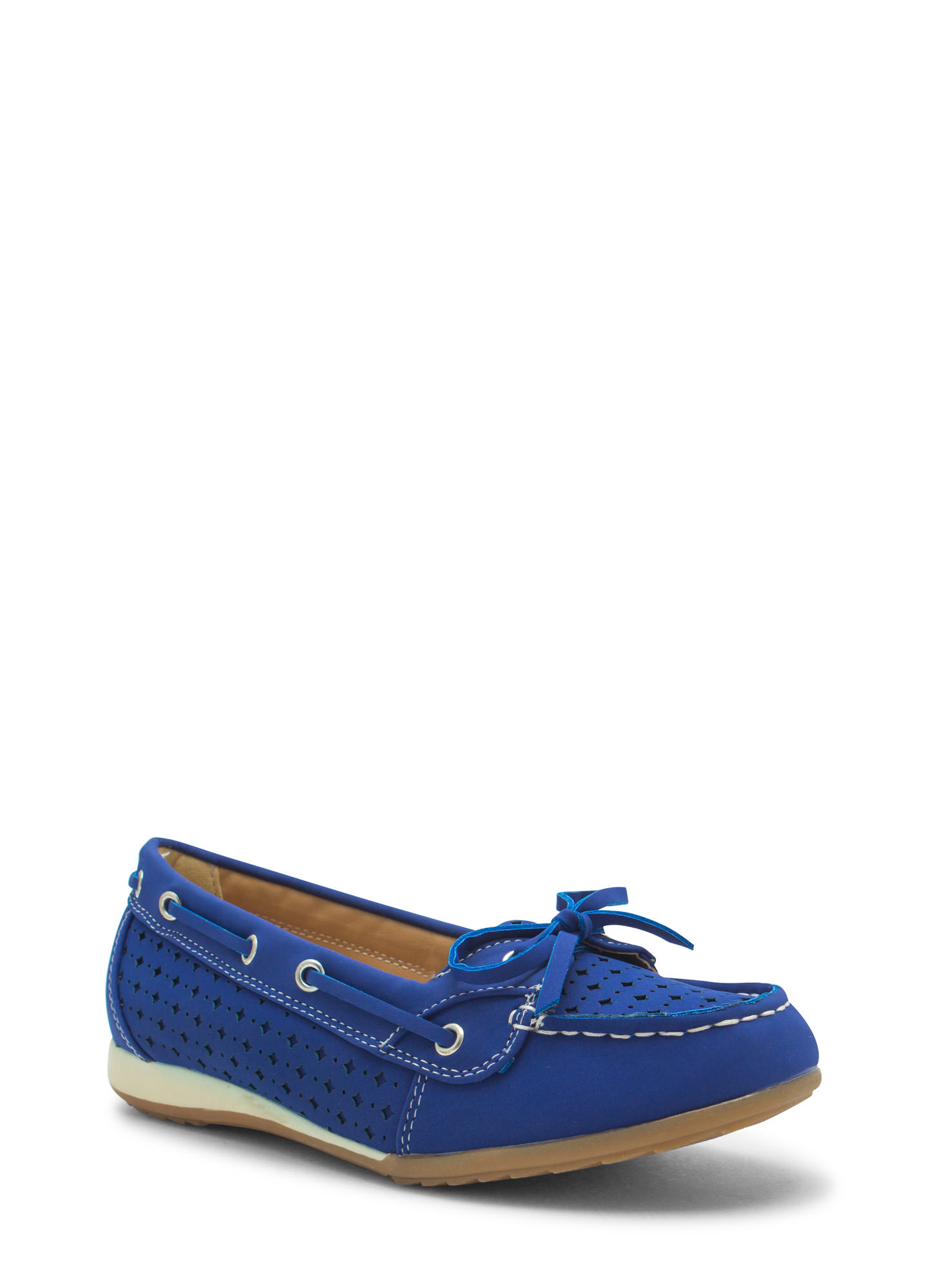 Perforated Faux Nubuck Boat Flats BLUE (Final Sale)