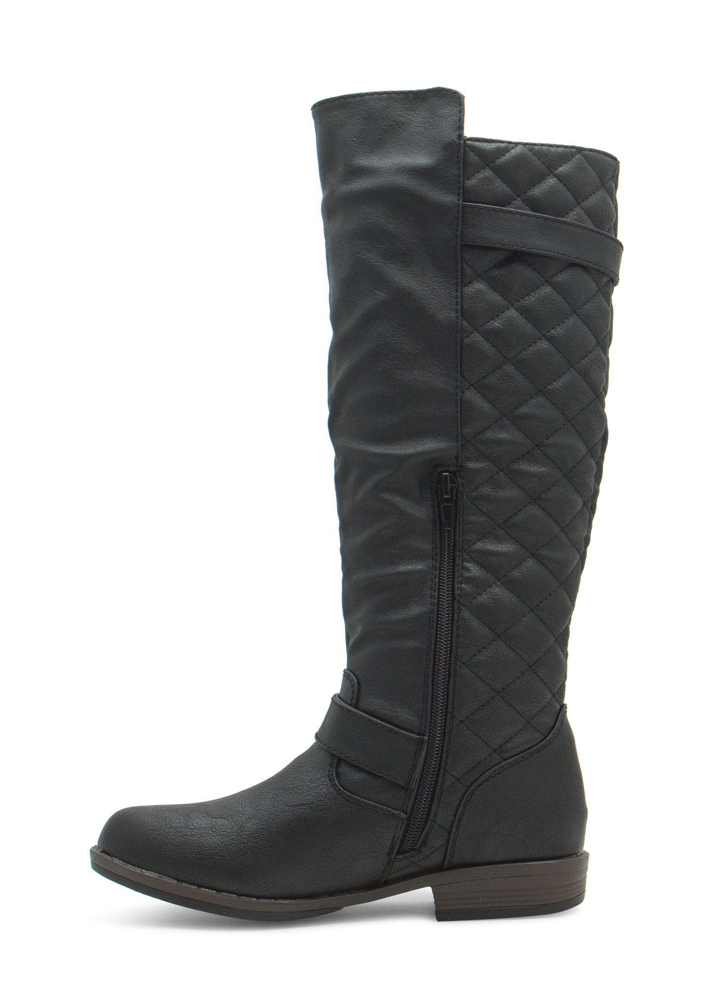 Quilted Inset Buckled Boots BLACK
