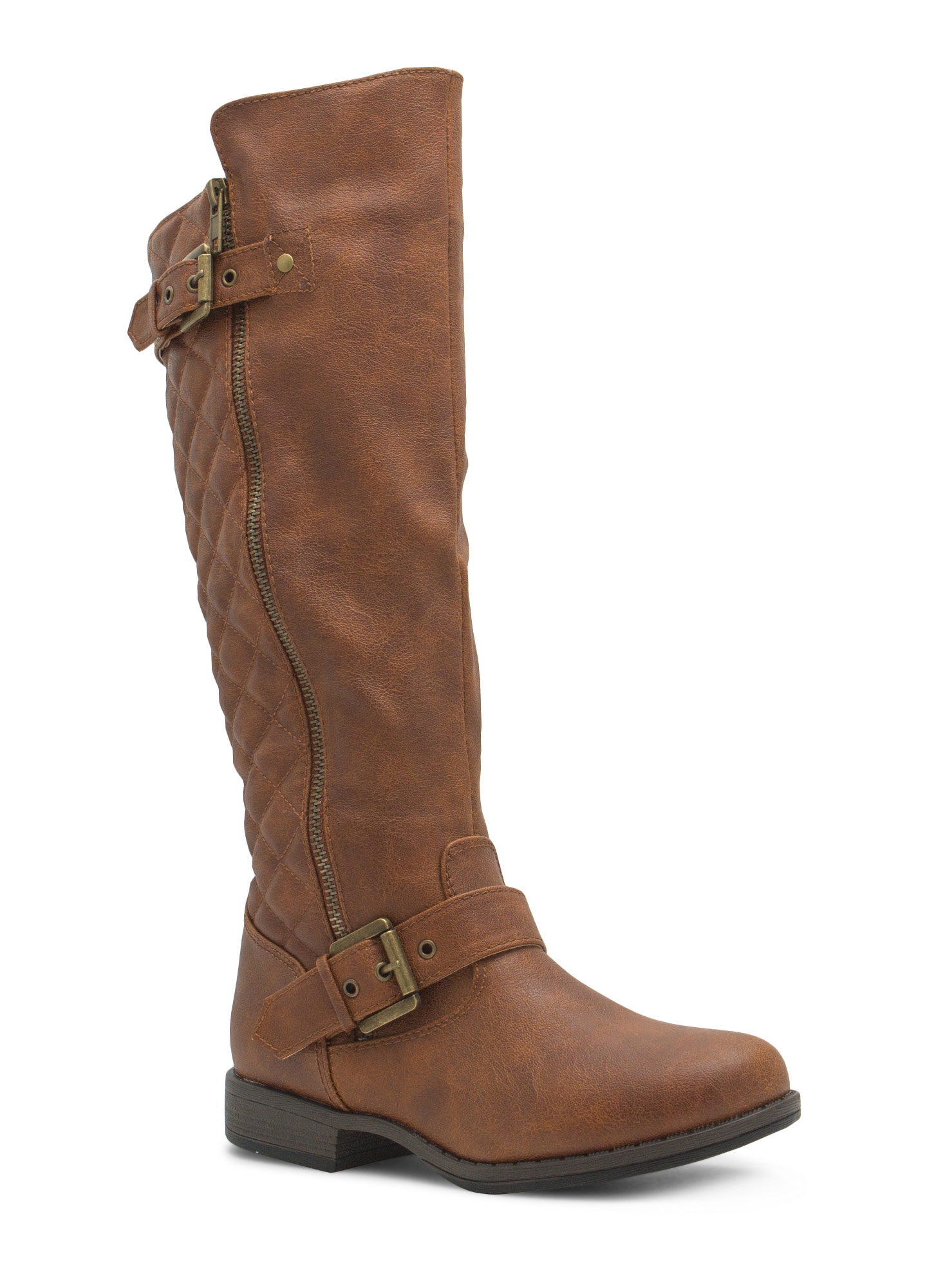 Quilted Inset Buckled Boots CHESTNUT